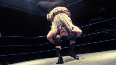 Premier Pro Wrestling Heavyweight Champion Matt Vine delivers a piledriver to Wolfman Huck